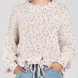 Main Strip Confetti Distressed Sweater